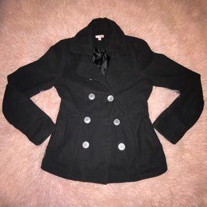 Black pea coat with pockets